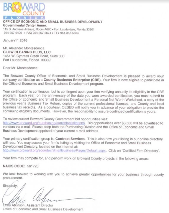 Glow Cleaning Plus LLC Letter of Recommendation