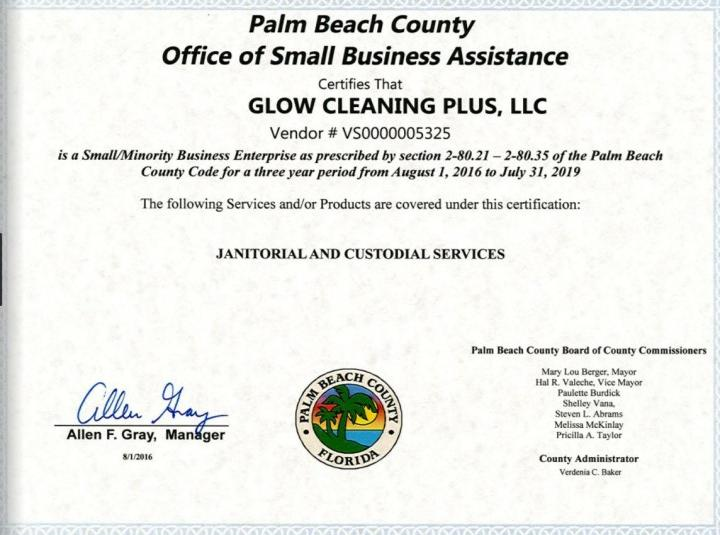 Glow Cleaning Plus LLC Certifications